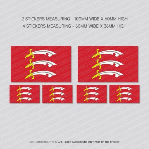 SKU6023 6 x Essex County Flag Vinyl Stickers Decals Window Car Van