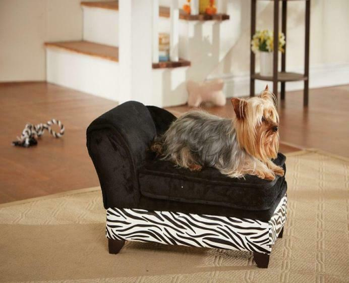 ENCHANTED PET ULTRA PLUSH ZEBRA STORAGE DOG PUPPY CAT SOFA BED