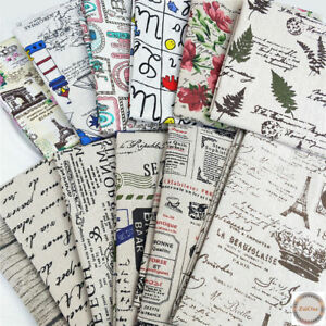 Letters-Floral-Printed-Vintage-Cotton-Linen-Fabric-Upholstery-Material-Decor-2M