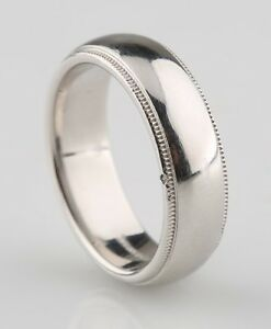 Tiffany & Co Mens Platinum Milgrain Wedding Band Ring 6mm ...