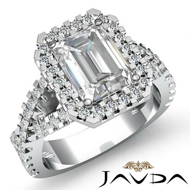 Halo Emerald Diamond Cross Shank Engagement Ring GIA F SI1 14k White Gold 2 ct