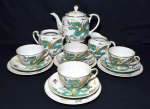 Antique-Japanese-Noritake-Porcelain-Dragonware-Tea-Set-Yamada-China-c1920s