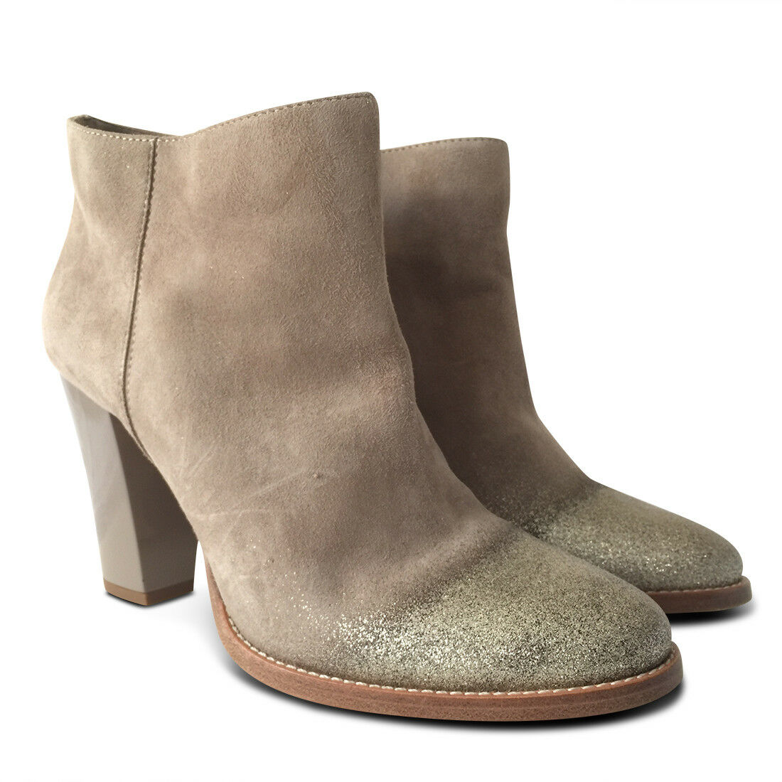 NEW NEW NEW Jimmy Choo Marley Glitter Suede Ankle démarrage - Beige - Taille 40 111885