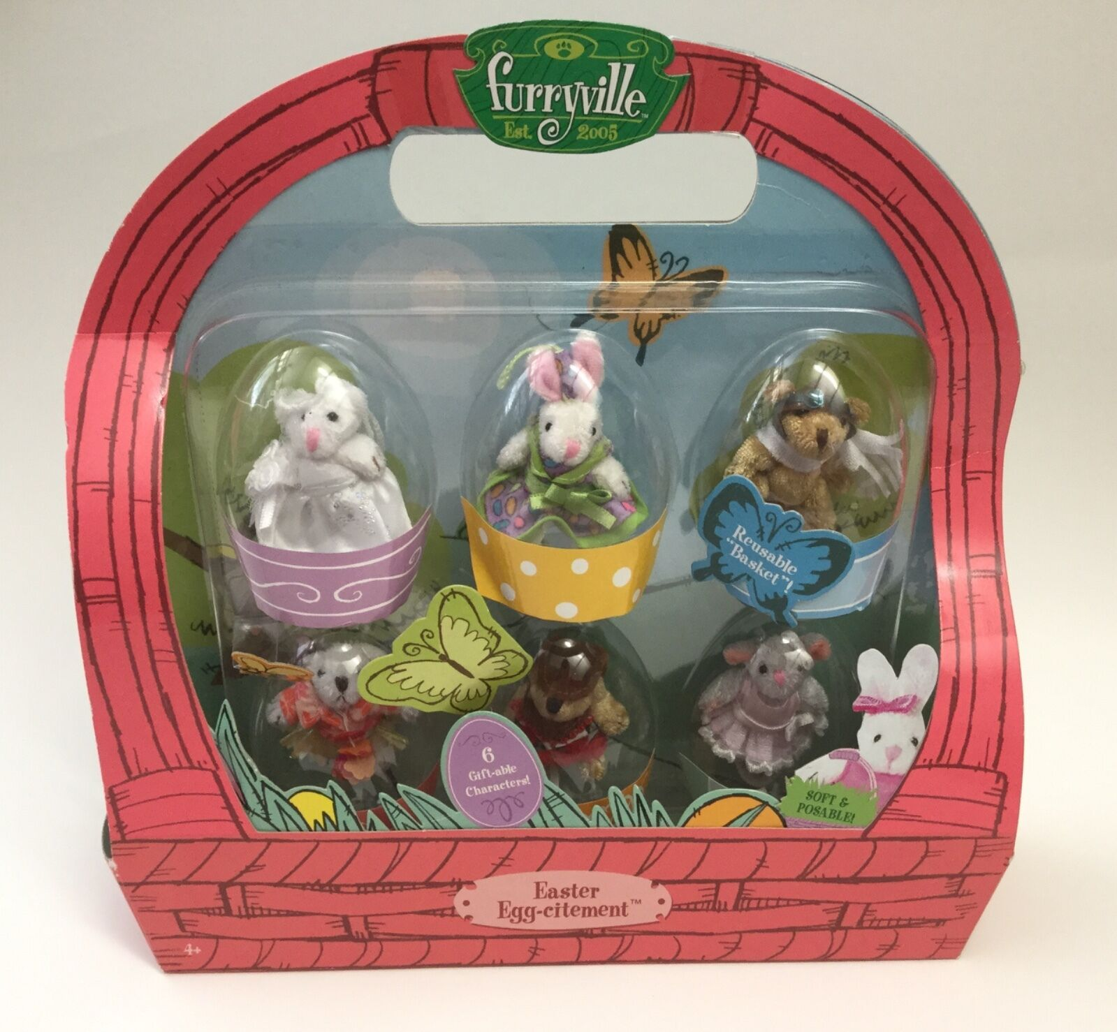 NEW Furryville Est. 2005 Easter Egg-citement 6 soft posable gift-able characters