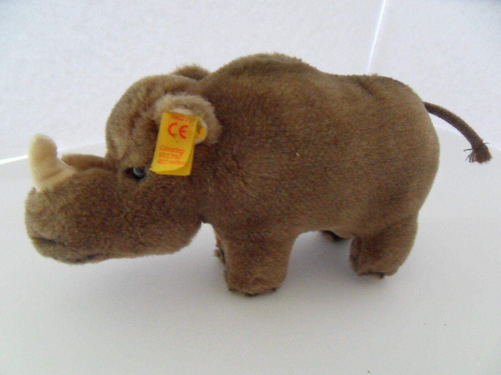 Steiff rhinoceros all IDs stuffed animal made in Germany 2418