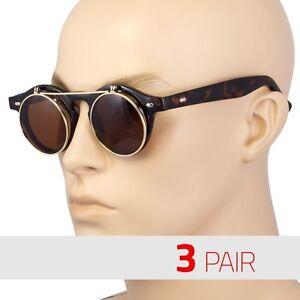 3-Pair-Cool-Flip-Up-Lens-Steampunk-Vintage-Retro-Round-Sunglasses-Tortoise-Vinta