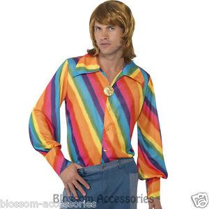 CL434-1970s-Rainbow-Colour-Shirt-Groovy-Retro-Disco-Mens-Fancy-Dress-Up-Costume