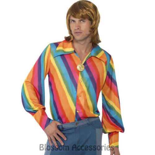 CL434 1970s Rainbow Colour Shirt Groovy Retro Disco Mens Fancy Dress Up Costume