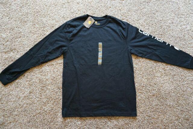 2XL Carhartt Men/'s Signature Logo Casual Cotton Long Sleeve T-Shirt Size S