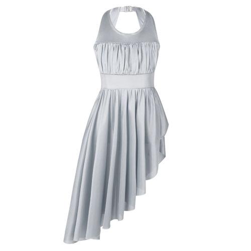 Kid Girl Lyrical Latin Dance Dress Ballet Ballerina Side Split Dancewear Costume