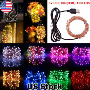 10M-100LED-String-Fairy-Lights-Copper-Wire-USB-Powered-Decor-Garland-Party-Xmas