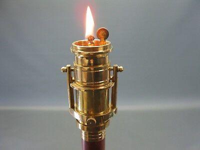 Holz Gehstock 97 cm Spazierstock  mit  Benzin Feuerzeug im Messinggriff Sammler