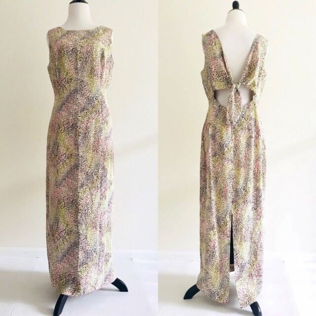 Adrianna Papell Open Back Maxi Dress Size 10 Brown Paisley 100% Silk Back Tie N5