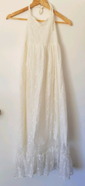 Girls Long White Lace Dress Size 10 (will fit 12 too) Flowergirl beach wedding