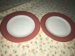 """2 Vintage Red Band Pyrex Luncheon Plate White Mllk Glass Gold Trim USA 8 1/4"""""""