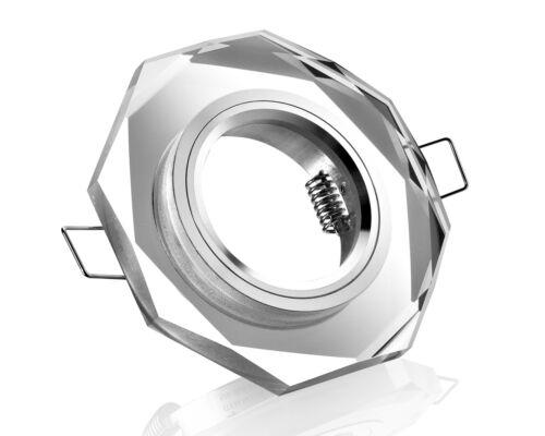 3 x GU10 Einbaurahmen Kristall LED Einbaustrahler eckig schwarz klar 12V//230V