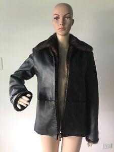 Kathy-Ireland-Black-Leather-Jacket-Coat-Removable-Brown-Faux-Fur-Trimmed-Liner-S