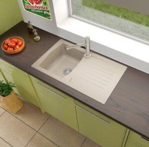 Lavandino lavello incasso cucina mineralite 86 x 50 beige sabbia respekta ebay - Lavello cucina incasso ...