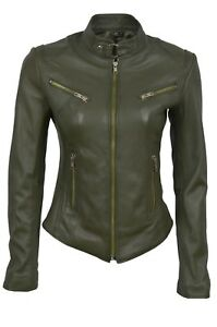 Ladies Design Style Luxury Olive Nappa Real Leather Green Jacket Biker R447qwa