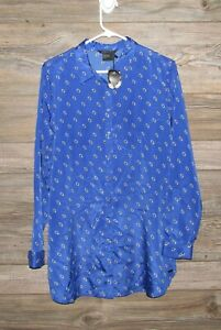 Armani-Exchange-NWT-Mens-Large-Blue-Long-Sleeve-Button-Front-Shirt-Polyester