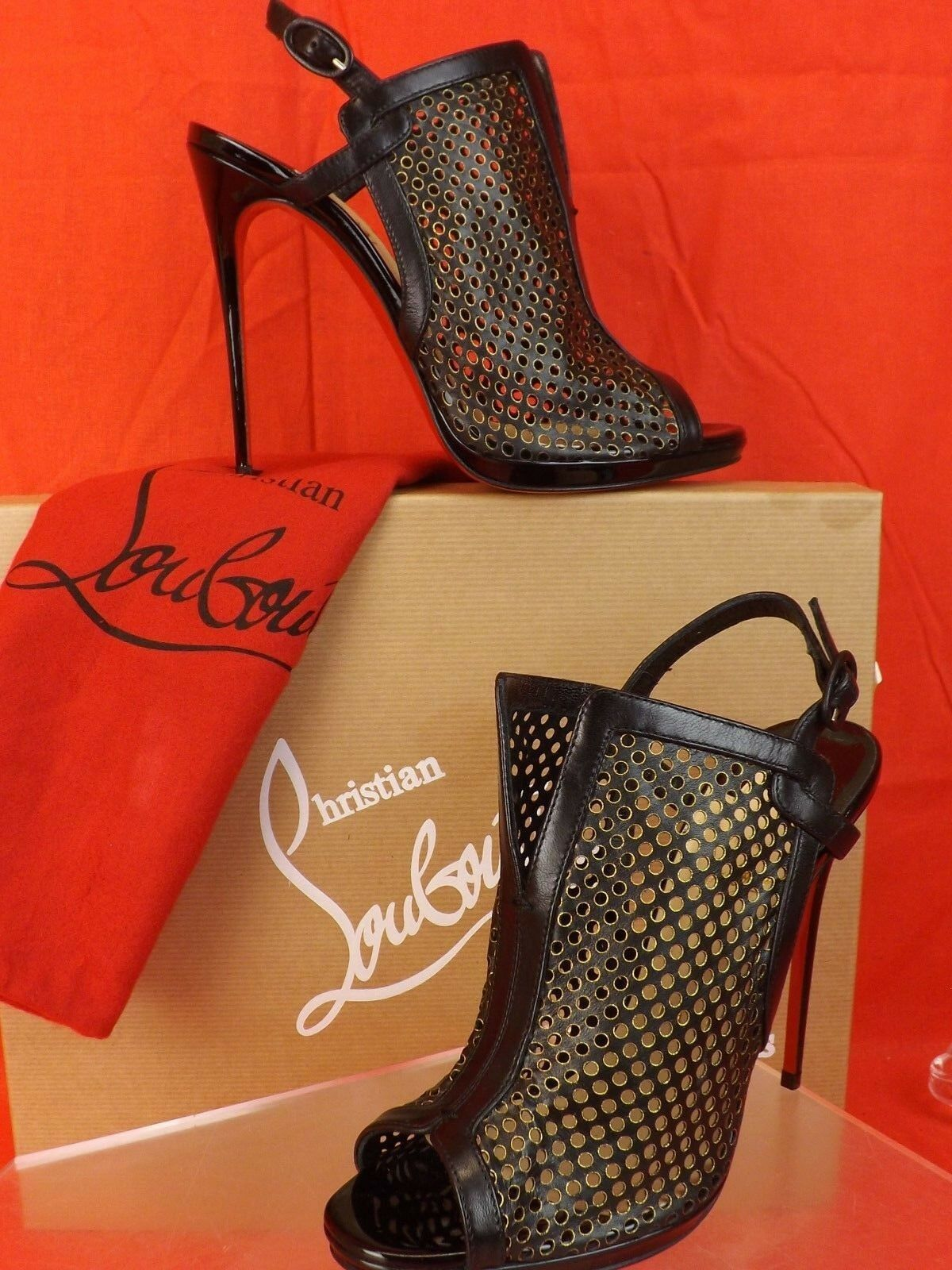 NIB LOUBOUTIN ESCRIMINETTE 120 BLACK PERFORATED LEATHER SANDALS PUMPS 40.5