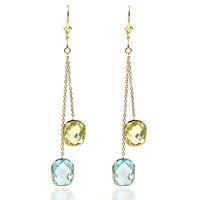 14k Yellow Gold Dangle Earrings With Lemon And Blue Topaz Gemstones