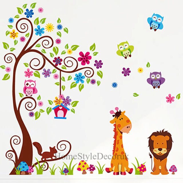 giant scroll flower tree wall stickers children kids room decal owl