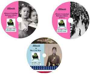 270 vecchi libri-Illinois-STORIA Genealogia collezione di guerra civile-DVD CD II