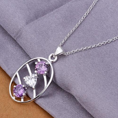 Damenhalskette Anhänger Herz Zirkonia lila weiß 45cm Halskette pl.Sterlingsilber