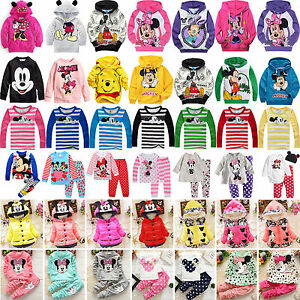 Toddler-Kids-Girls-Cartoon-Minnie-Mickey-Mouse-Hoodie-Coat-Sleepwear-Outfit-Sets