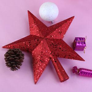 nicexmas treasures red glittered mini star christmas tree topper 45 inch