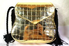 Vintage Christian DIOR Goldtone Metal Minaudiere Small Tiny Clutch Shoulder Bag