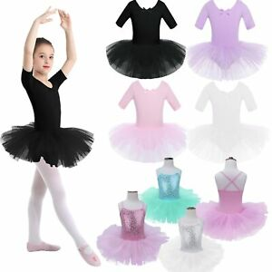 US-Girls-Gymnastics-Leotards-Ballet-Dance-Dress-Tutu-Skirt-Performing-Costume
