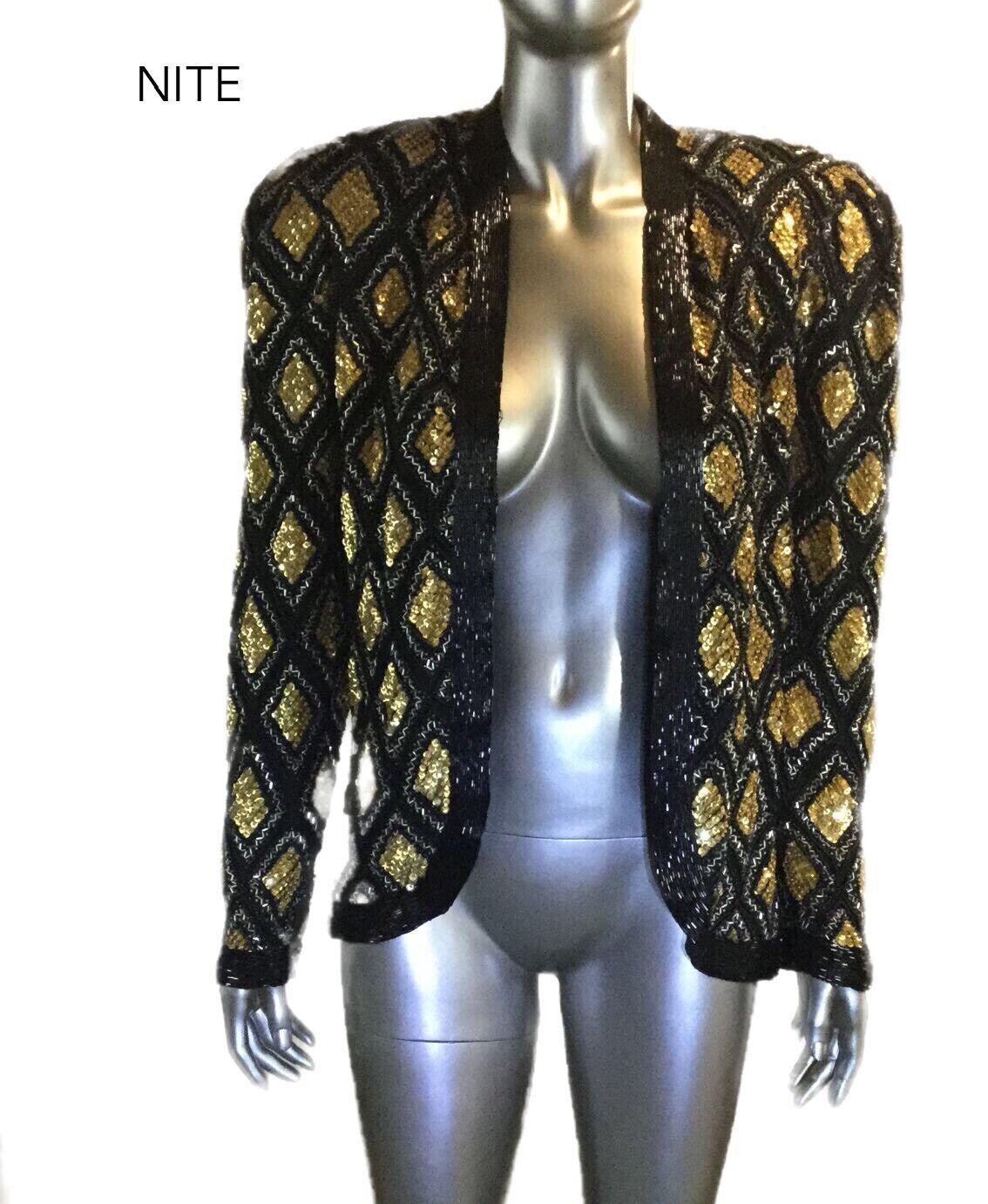 Vintage Nwt Nite Line Damen Pailletten Wulstig Blazer Top, GRÖSSE M