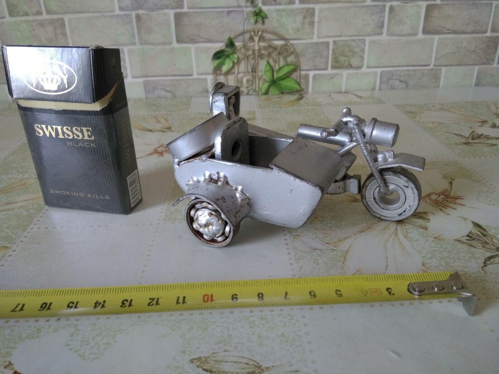 Vintage Moto Bicicleta URSS Harley Davidson Estaño Juguete Hojalata Coche Hecho a Mano