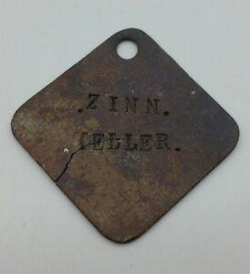 """WW1 German Army Metal Package Plaque Tag """"Zinn Keller"""" Somme Find"""