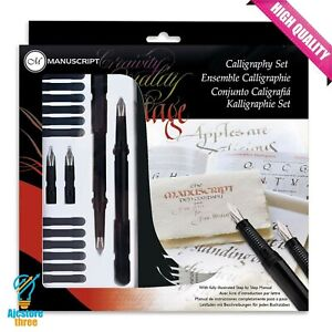 Calligraphy-Gift-Set-Beginners-23-Pieces-Fountain-Pens-Nibs-Ink-A5-Practise-Pad