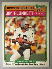 1981 Topps #335 Jim Plunkett *RECORD BREAKER* Longest Pass, Super Bowl History