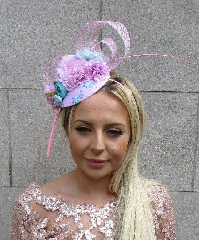 Light Baby Pink Turquoise Blue Rose Flower Feather Hat Hair Fascinator 50s 5701