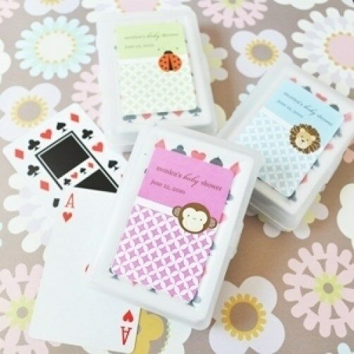100 ensembles bébé animal personnalisé Playing Cards Baby Shower Favors