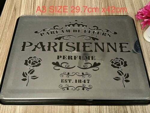 A3 French Vintage Stencil Wall Furniture Decor Large Template Shabby Chic Paris