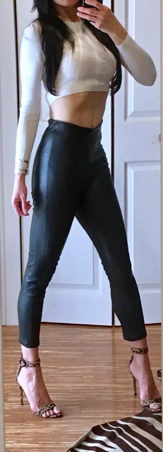 "1000 BY MALENE BIRGER ""ELANASOO"" HIGH-WAISTED LEATHER LEGGING, SZ DK 34 US 0-2"