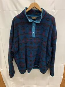 Eddie Bauer Vintage Green Purple Aztec Polartec Fleece 1/4 Snap Jacket Mens Sz L