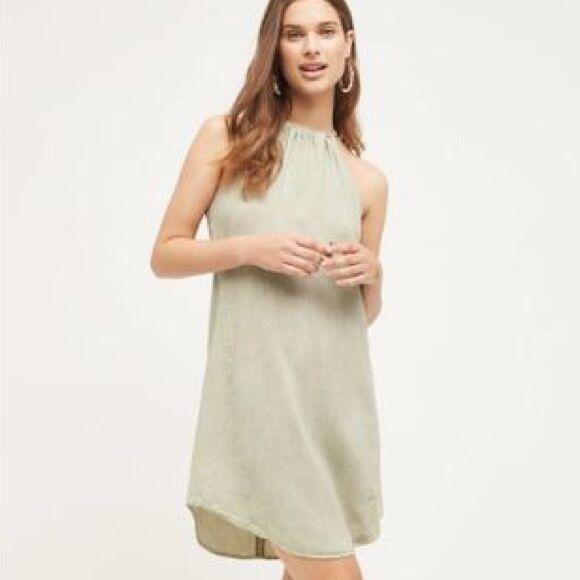 a0cb119bee2 New Cloth       Stone Anthropologie High Tide Halter Tunic Safari Green  Dress Tie 341e8f