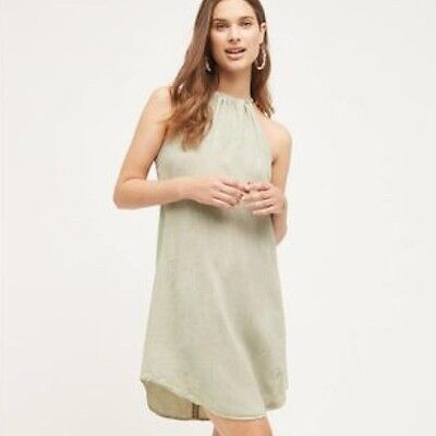 New Cloth & Stone Anthropologie High Tide Halter Tunic Safari Green Dress Tie