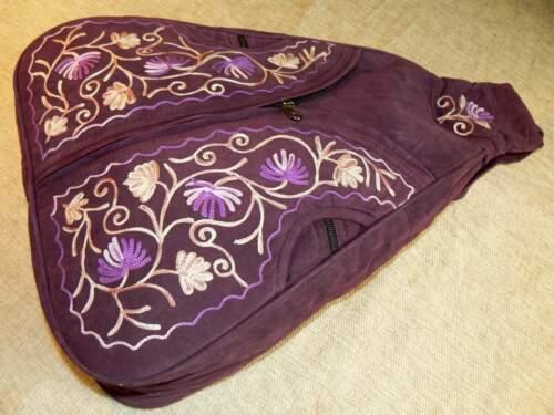 hecha Ante Mochila de mano con de Nepal Mochila a gamuza Mochila cuero forro bordado PqgwBtBxv