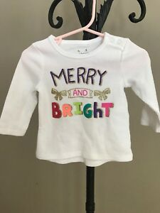 Christmas-Merry-and-Bright-Infant-Girls-Waffle-Thermal-Tunic-Top-SIZE-3-Months