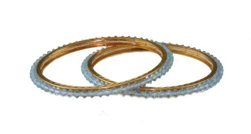 Par De Azul Cristal con brazaletes Indio Bollywood Partywear Joyería étnica