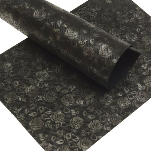 Cuir de vachette Flower Design 2,5 Mm Dick format a5 en cuir véritable noir leather 162