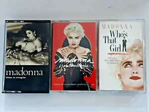 Lot-of-3-MADONNA-cassette-tapes-Like-A-Virgin-Who-039-s-That-Girl-You-Can-Dance